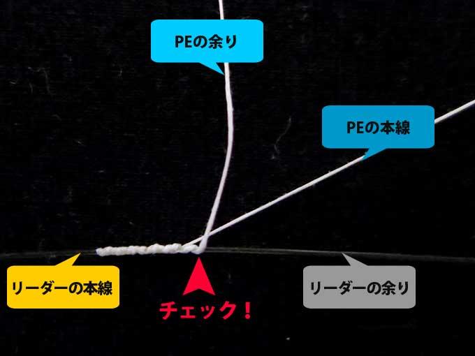 【図解版】PEラインとリーダー結束「簡単FGノット」 失敗例