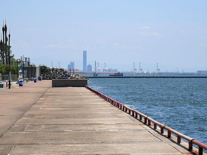 尼崎の海釣り公園と鳴尾の新波止が見えます