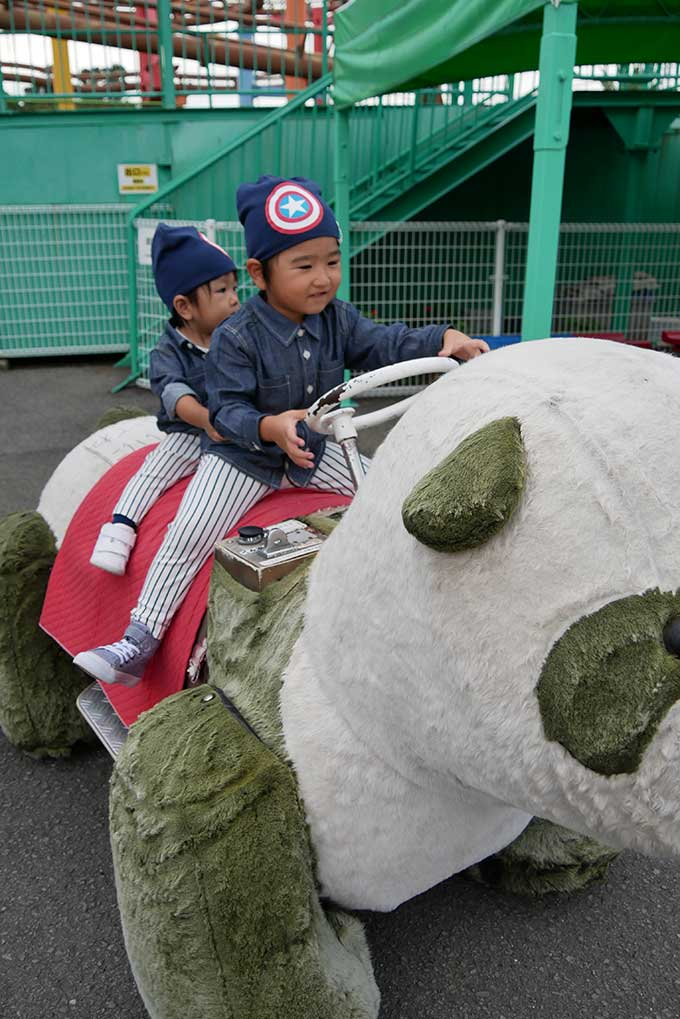パンダさんに乗って