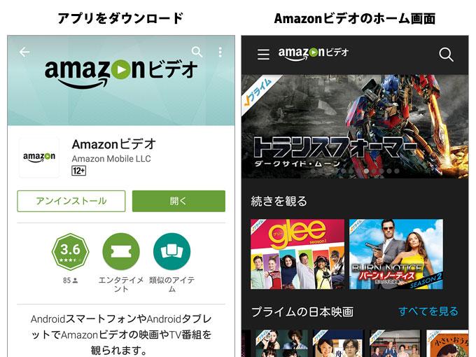 Amazonビデオというアプリを利用