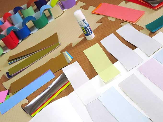 折り紙で作る輪っかの飾り